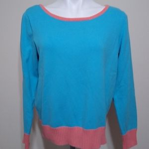 IZOD Blue and Pink Color Block Crew Knit Sweater